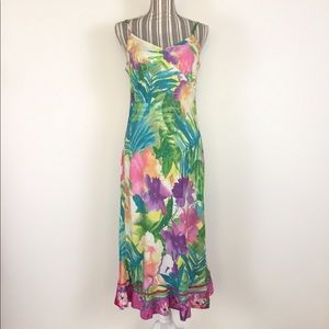Jams World colorful floral print strap dress Sz M